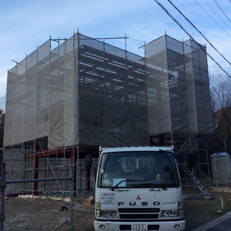 足場の施工完了~ヽ(^o^)丿